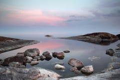 Noite no lago ladoga Fotografia de Stock Royalty Free