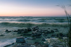 Noite no mar Foto de Stock Royalty Free
