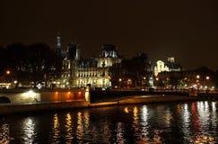 Noite no rio Seine Foto de Stock