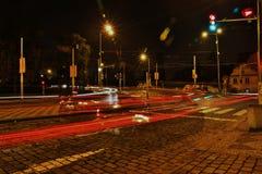 Noite Praga, exposição longa, República Checa Imagens de Stock