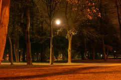Noite que ilumina o trajeto para caminhadas na aleia ? vista das lanternas Luz pequena decorativa do jardim, lanternas na cama de imagem de stock royalty free