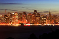 Noite San Francisco, skyline Fotografia de Stock Royalty Free