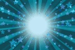 A noite stars o fundo azul do pop art do feriado ilustração stock