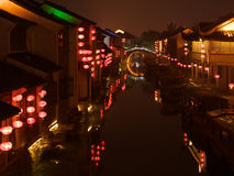 Noite Suzhou China fotografia de stock royalty free