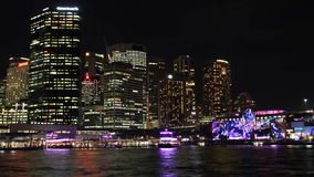 Noite Timelapse de Sydney City Building Skyline Landscape que estabelece o tiro video estoque