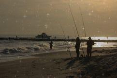 Noite ventoso dos pescadores do ponto da pesca do ponto de New York City Fotografia de Stock