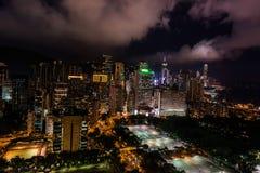 Noite Victoria Park Causeway Bay Hong Kong da arquitetura da cidade imagem de stock
