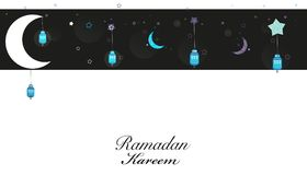 Noites da ramadã Lua, estrelas e lanternas tradicionais Cartão de Eid ilustração stock