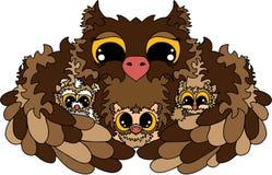 Noites do ` s da mamã, bebê que dorme, corujas, família feliz Coloração no branco ilustração do vetor