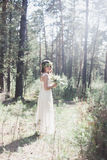 Noiva à moda bonita na floresta Imagens de Stock Royalty Free