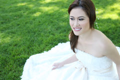Noiva asiática bonita do casamento Fotografia de Stock