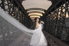 Noiva asiática bonita no casamento fotografia de stock royalty free