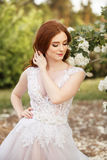 Noiva bonita do ruivo no vestido de casamento fantástico no jardim de florescência imagem de stock