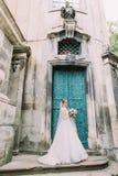 A noiva bonita está levantando perto da construção antiga fotos de stock