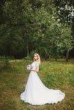 Noiva bonita fora em uma floresta Fotos de Stock