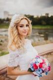 Noiva bonita fora em uma floresta Foto de Stock