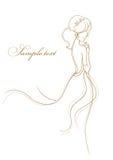 Noiva bonita no fundo branco Ilustração do vetor Imagem de Stock Royalty Free