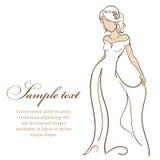 Noiva bonita no vestido branco Ilustração do vetor Imagens de Stock Royalty Free