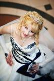 Noiva bonita no vestido de casamento Foto de Stock Royalty Free