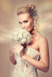 Noiva bonita no vestido de casamento branco elegante do laço imagens de stock royalty free