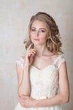 Noiva bonita que levanta o penteado do casamento e o vintage do vestido Fotos de Stock Royalty Free