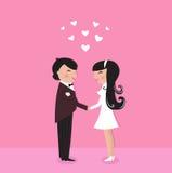 Noiva bonito com noivo, cerimónia de casamento ilustração do vetor