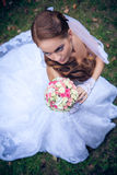 Noiva caucasiano bonita exterior Fotografia de Stock Royalty Free