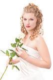 A noiva com branco levantou-se Fotografia de Stock Royalty Free