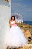Noiva com guarda-chuva fotografia de stock