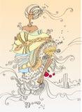 Noiva com um dote ilustração stock
