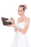 Noiva da mulher com um dólar Despesas do casamento Imagem de Stock Royalty Free