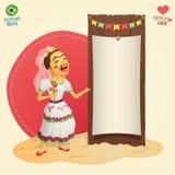 Noiva do aldeão do partido de junho do brasileiro que guarda a placa temático vazia Fotografia de Stock Royalty Free