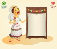 Noiva do aldeão do partido de junho do brasileiro que guarda a placa temático vazia Imagem de Stock Royalty Free