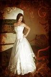 Noiva do brunette de Grunge fotografia de stock royalty free