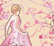 Noiva do vetor na cor-de-rosa Fotografia de Stock Royalty Free