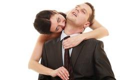 Noiva dominante com marido fotografia de stock