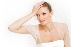 Noiva e expressão facial fatigante - nervosas Imagem de Stock
