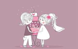 Noiva e noivo ilustração royalty free