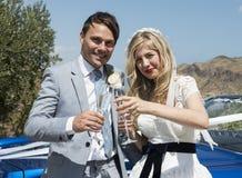 Noiva e noivo ao lado do carro do casamento Fotografia de Stock