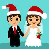Noiva e noivo Cartão de casamento com os recém-casados no Natal ha fotos de stock