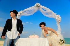 Noiva e noivo com bolo de casamento Imagens de Stock Royalty Free