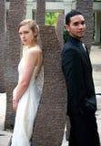 Noiva e noivo de encontro a uma rocha Imagens de Stock Royalty Free