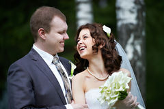 Noiva e noivo do retrato Fotos de Stock Royalty Free