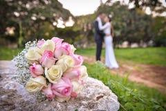 Noiva e noivo em seu dia do casamento Foto de Stock Royalty Free