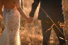 Noiva e noivo em seu dia do casamento cor de tom do vintage Fotografia de Stock Royalty Free