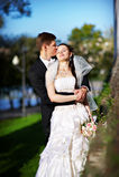 Noiva e noivo felizes Imagem de Stock