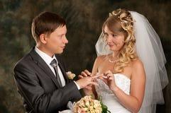 Noiva e noivo felizes Imagem de Stock Royalty Free
