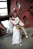 Noiva e noivo felizes sobre o edifício velho imagem de stock