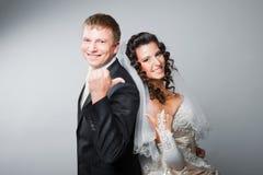 Noiva e noivo Gesticulating Fotografia de Stock