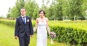 Noiva e noivo no parque fotos de stock royalty free
